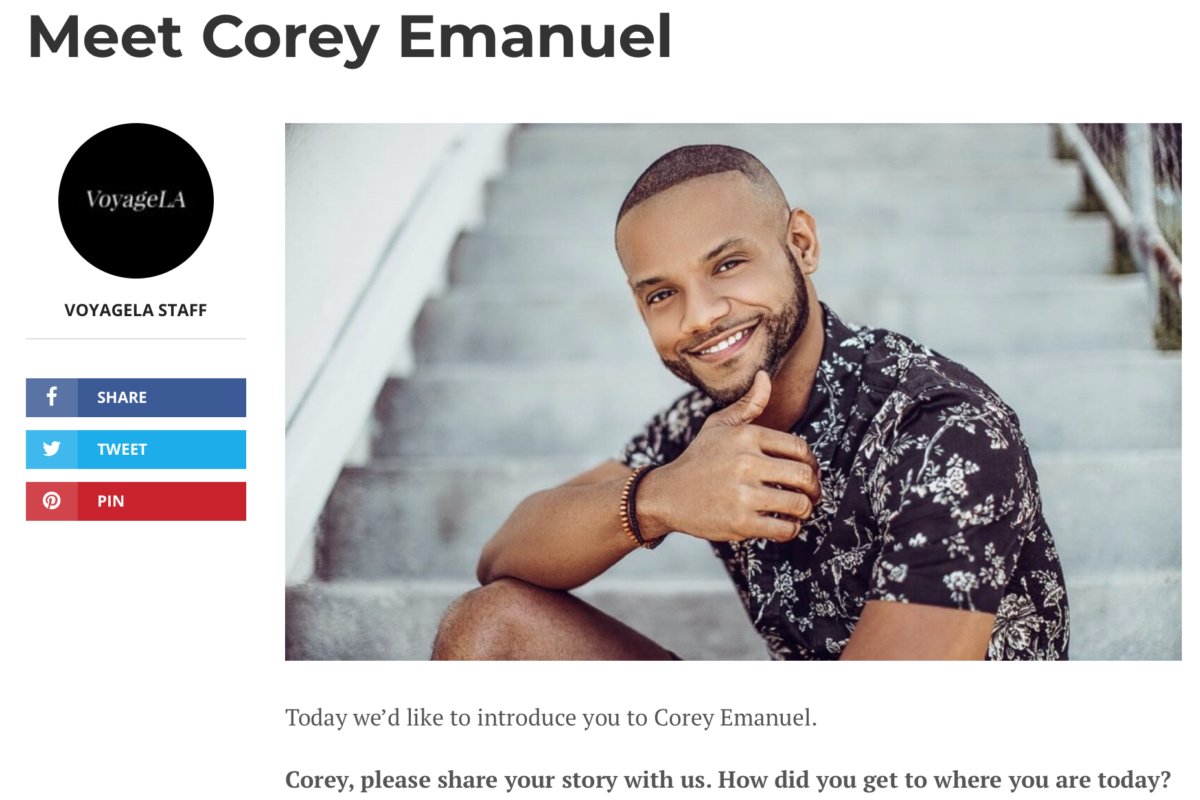 VoyageLA Magazine selects Corey Emanuel as Most Inspiring